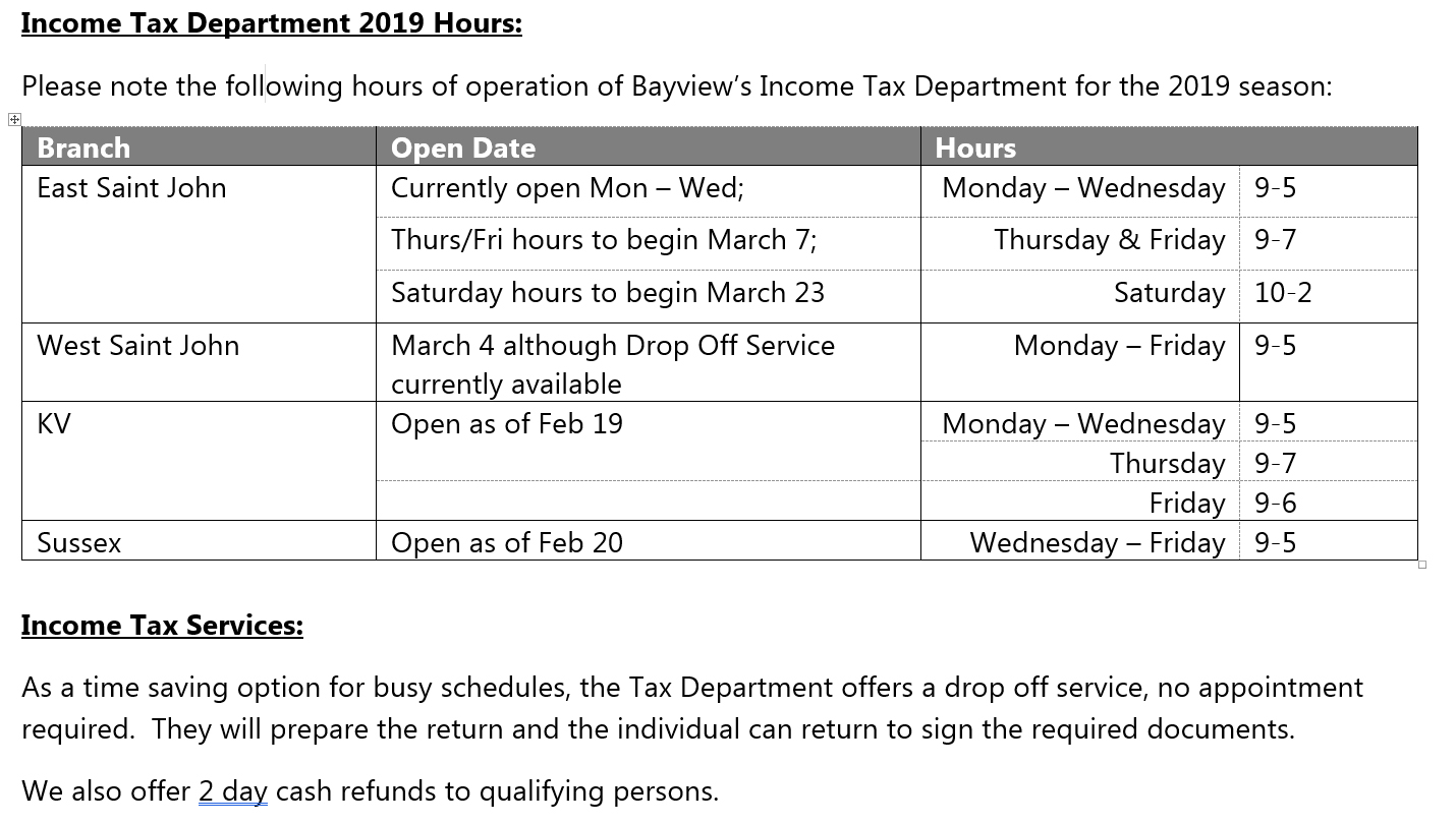 2019 Tax Hours